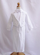 New White Boy Tuxedo with tail  formal suit christening baptism communion party