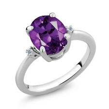 2.52 Ct Oval Purple Amethyst White Topaz 925 Sterling Silver Ring