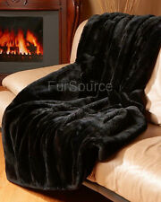 Premium Full Pelt Fur Blankets -Sheared Beaver Black Fur Throw Queen and King