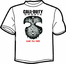 CALL OF DUTY GHOST PERSONALISED GAME TAG WHITE T SHIRT MENS LADIES  (Skull)
