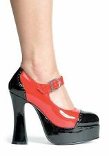Women's 5 1/2 Inch Chunky Heel Two Tone Mary Jane