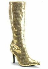 Pleaser LUST-2001SQ Sequined Knee-High Boot With 3 1/4 Inch Heel