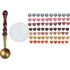 1 Set Heart Shape Sealing Wax Beads with Melting Spoon Candle 12 Colors #Cu3
