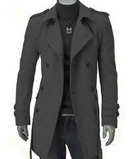 1 Piece Men Slim Fit Long Jacket Mixed Wool Double Breasted Strap Trench Coat