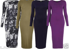 Womens Ladies Topshop Stretch Midi Bodycon Dress Jersey Full Sleeve 6-16