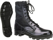 """Kids Black Military Style Tactical Leather Jungle Boots - 8"""""""