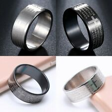Mens ladies womens STAINLESS STEEL lords prayer bible WEDDING band RING 9 sizes