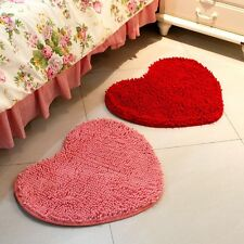 Doormat Bedroom Heart Love Carpet Fluffy Chenille Rug Mat Cushion Pad