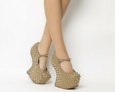 Womens Jeffrey Campbell Prickly Wedge TAUPE LEATHER GOLD SPIKE Heels