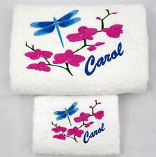 DRAGONFLY & ORCHID EMBROIDERED TOWEL SET, CAN BE PERSONALISED.  LOVELY GIFT!