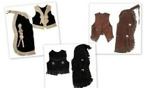 Childrens Western Vest & Chaps Set-Black or Brown Suede Leather, S, M or L