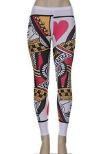Plus Size New Queen of Heart Playing Card Style Fitted Stretch Tights/Leggings