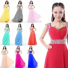 Long Chiffon Crystal Beads Evening Formal Party Ball Gown Prom Bridesmaid Dress