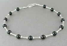 Black Onyx Anklet or Bracelet with Sterling Silver Spacers - Petite to Plus Size