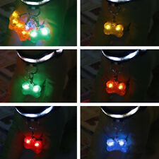 Safety Bone Flashing Glow Light Blinking LED Tags Collar Pendant Pet Dog Puppy