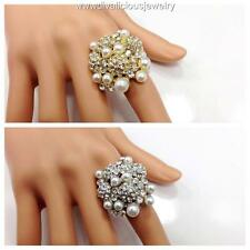 Crystal Pearl Truffle Bling Diva Ring - Gold or Silver