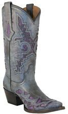 Lucchese M3568 Womens Grey Plato Calf Leather Western Cowboy Boots With Inlay