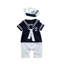Baby Boy Girl Sailor 1 Pc Romper Suit Grow Summer Marine Outfit 2 Colours 0-24 m