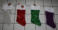 NEW Merry Brite Sequin Christmas Stocking ~Silver, Red, Green or Purple~