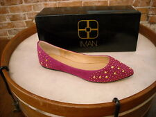 Iman Platinum City Chic Magenta Pink Studded Pointed Toe Ballet Flats NEW