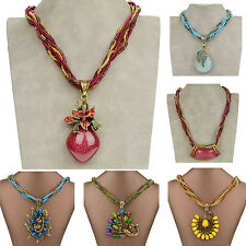 Mixed Metallic Crystal Resin Glass Beads Chain Gem CZ Necklace Pendant ZS01Z201
