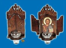 Orthodox Byzantine Icon Shrine With Glass Oil Cup For The Wall 14x30 cm