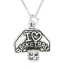 STERLING SILVER I LOVE BASKETBALL WITH HOOP CHARM PENDANT NECKLACE