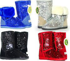 New Sequin Australian Sheepskin Sparkle Ugg Boots sz 5-9 blue black silver red