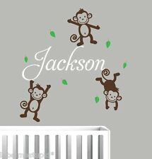 3 Cheeky Monkeys  * 2 colours * With ANY Name Wall Stickers Custom Made Boy Girl