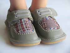 Toddler Shoes - Squeaky Shoes - Boys Gray w/ Plaid Dress Shoes, Up to Size 7
