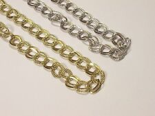 """20"""" Flat Linked Chain Necklace & Earring Set - Gold or Silver - U50"""