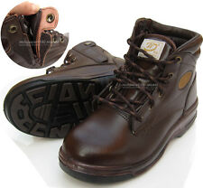 New Mens TIO Leather Safety Work Boots Steel Toe Cap Velcro Dark Brown