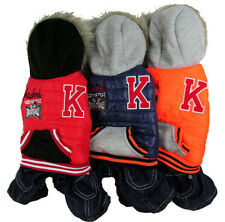 thick winter warm dog pet clothes hoodie jumpsuit pants for small dog 3 colors