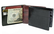 EEL SKIN Leather Men's Spring type Money Clip Bifold Slim Thin Wallet Holder