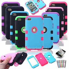 Hybrid Impact Rubber Matte Hard Soft Case Cover for iPod Touch 4 4th Gen + Pen