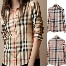 New Women's Long Sleeve Cotton Tops Button Down Plaid Shirt Loose Casual Blouses