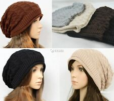 Winter Plicate Baggy Beanie Knit Crochet Ski Hat oversized slouch Cap