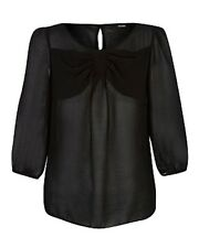 New George Black Chiffon Bow Front Smart Work Casual Top Formal Blouse 10-22