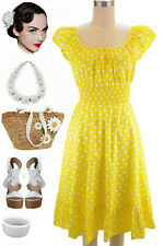50s Style YELLOW & White POLKA Dot PLUS SIZE Peasant Top On/Off Shoulder Dress