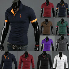 Men Stylish Slim Fit Casual Short & Long Sleeve POLO Shirt T-shirt Tee Polo Tops
