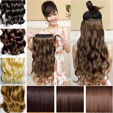 "18""-24"" Long New Women Hair Extensions Wavy Curly/Straight Synthetic Clip in on"