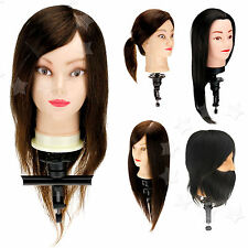 50-100% Real Human Hair Cosmetology Salon Training Practice Head  with Clamp Set