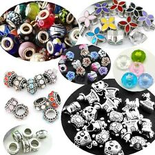 Silver Glass Charms Beads For Charm Bracelets Wholesale Mixed Bulk Lots UK