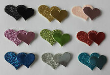 Glitter Double Hearts Stickers - Self Adhesive - 12 pack - Wedding Invitations
