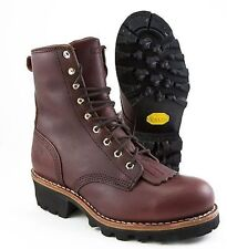 "CHIPPEWA REDWOOD OXBLOOD STEEL TOE 8"" LOGGER 73031 (WIDE) NIB"