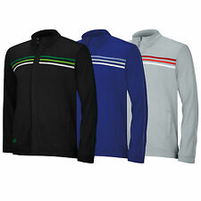 2014 ADIDAS MENS 3 STRIPES FULL ZIP LONG SLEEVE TOP - NEW GOLF SWEATER
