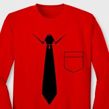 Tie And Pocket Funny Business T-shirt Novelty Gag Gift Long Sleeve Tee