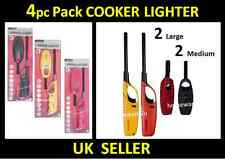 4 x REFILLABLE LONG NOZZLE GAS FIRE FLAME COOKER LIGHTER KITCHEN HOB BBQ CAMPING