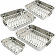 STAINLESS STEEL ROASTING TRAY OVEN PAN DISH BAKING ROASTER TIN GRILL RACK 4 SIZE
