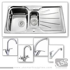 1.5 Bowl Stainless Steel Kitchen Sink  & Complete Plumbing Kit-Choice of Taps